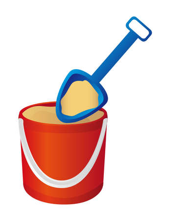 bucket and spade with sand. vector illustration