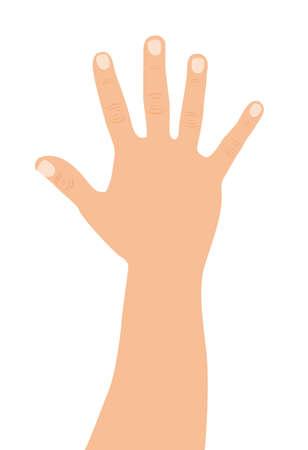 caucasian open hand over white background. vector illustration