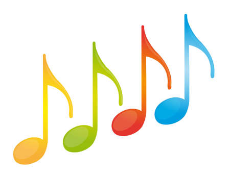 colorful music note isolated over white background. vector