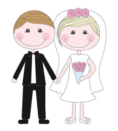 cute husbands isolated vector illustration. just married
