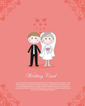 Foto de COuple illustration over pink background, card to insert text, vector  - Imagen libre de derechos