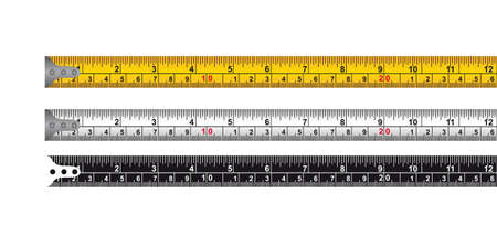 Illustration pour three tape measure isolated over white background. vector - image libre de droit