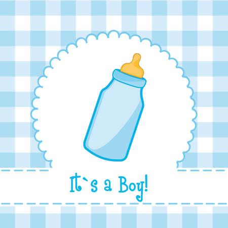 its a boy card with baby bottle, baby shower. illustration