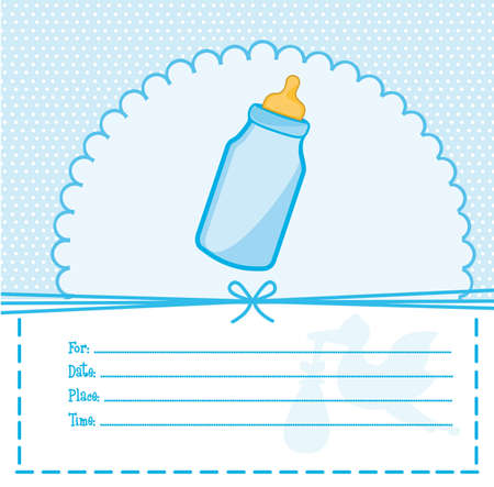 blue baby shower card with bottle baby illustration