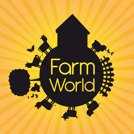 black silhouette farm world over yellow background. illustration