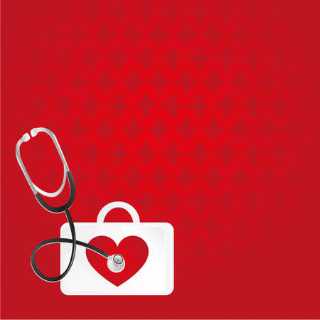 first aid, heartbeat, background over red pattern: Royalty
