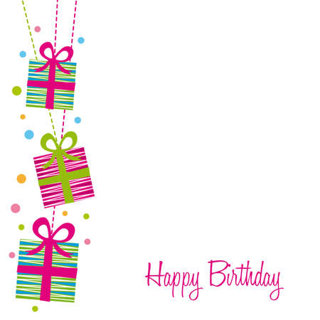 cute gifts over white background, birthday. vector illustration