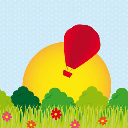 cute landscape with airballoon and leaves. vector illustration