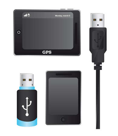 usp plugs with gsp and cellphone isolated over white background. vector