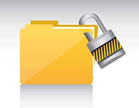 folder with padlock with shadow. vector illustration