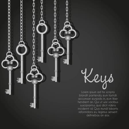 old silver keys hanging string illustration
