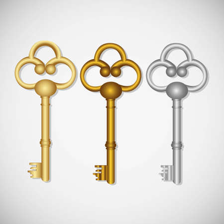 set of old keys, isolated on white background