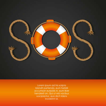 rope and float forming SOS signal, vector illustration