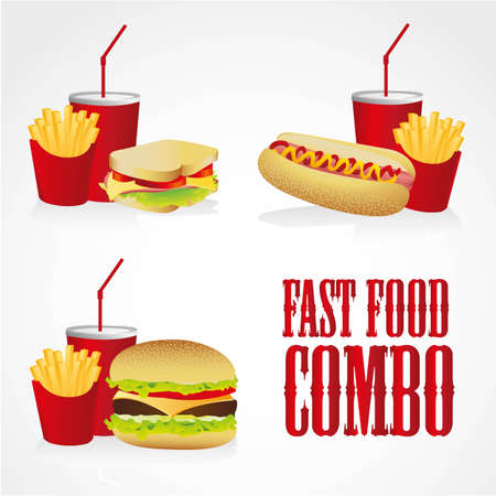 icons of fast food combos, contains hot dog, hamburger and sandwich with fries and soda