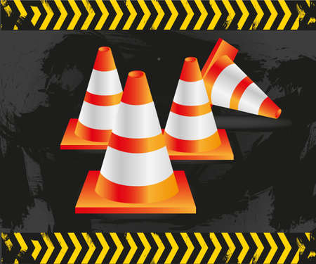 traffic cones on grunge background with signals, vector illustration.