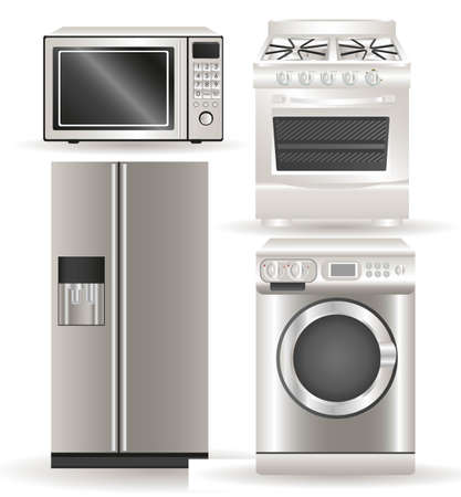 Appliances, contains washing machine, stove, microwave and refrigerator