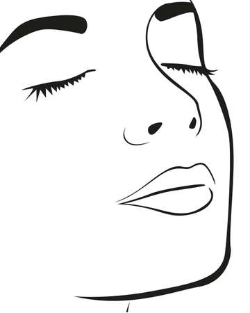Silhouette lines of the woman's face, isolated on white background, vector illustration