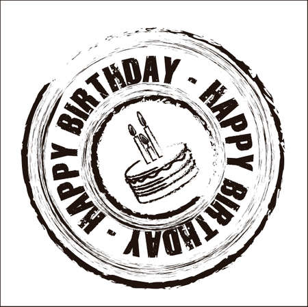 Birthday round seal with different icons, vector illustration
