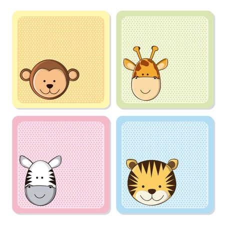 Ilustración de Illustration of a cute  monkey, tiger,  giraffe and zebra,  illustration - Imagen libre de derechos