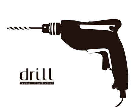 Illustration of silhouette of a drill isolated on white background, illustration