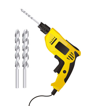 Illustration of a drill isolated on white background,illustration