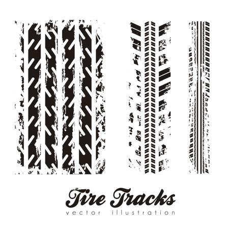 illustration of tire marks on white background, vector illustration