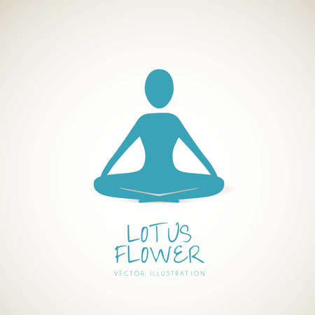 silhouette of a person in the lotus position, vector illustration