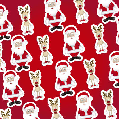 Illustration for Illustration of pattern of Christmas characters, wrapping paper, vector illustration - Royalty Free Image