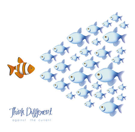 illustration of many fish, think differently, against a current, vector illustration
