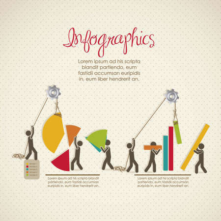 Infographics, building with bars silhouettes, vector illustration