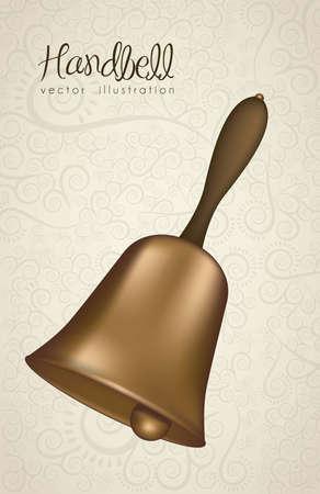 illustration of  golden handlebell with red ribbon, vector illustration