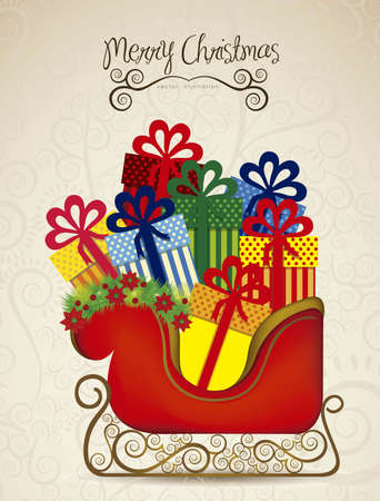 illustration of  sleigh full of gifts, on arabesque background, illustration Vector