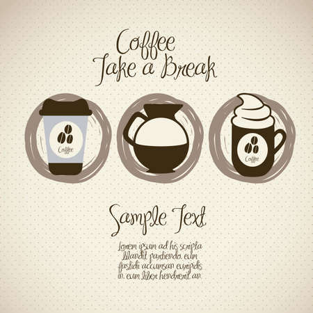 illustration of coffee icons, isolated on beige background, vector illustration