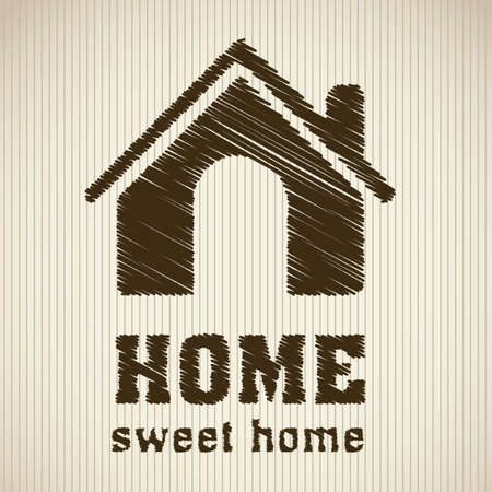 Illustration of home icons, house silhouettes on beige background, vector illustration