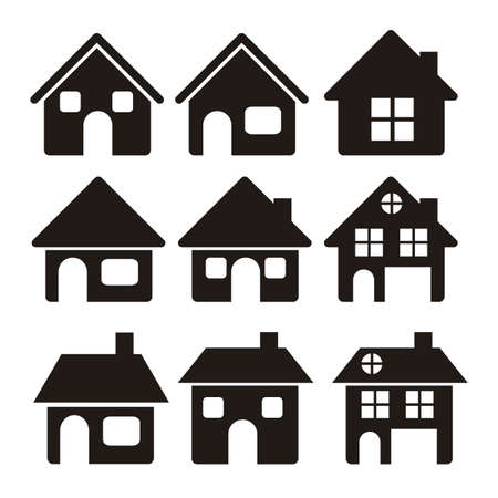 Illustration of home icons, house silhouettes on white background, vector illustration