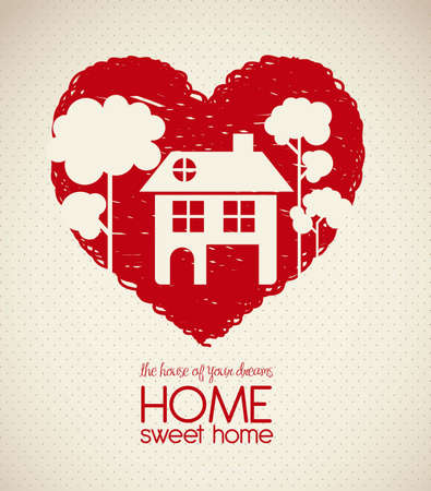 Illustration of home icons, house silhouette on heart sketch, vector illustration