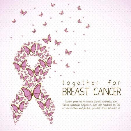 Illustration of breast cancer, butterfly awareness ribbon, vector illustration