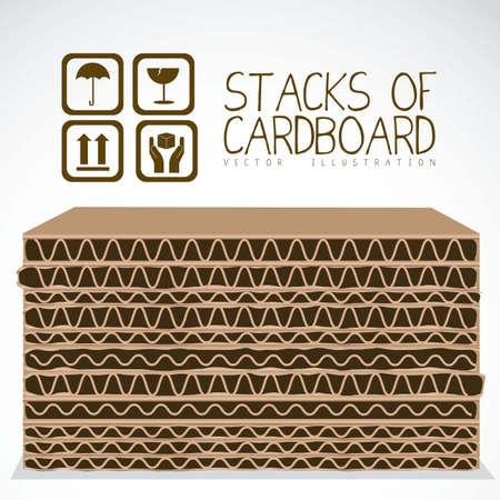 Illustration pour Illustration of stacks of cardboard boxes, cardboard texture, vector illustration - image libre de droit