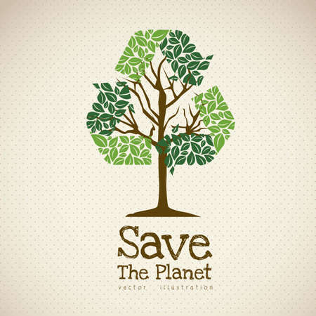 Illustration of recycling with ecological icons, Save the Planet.