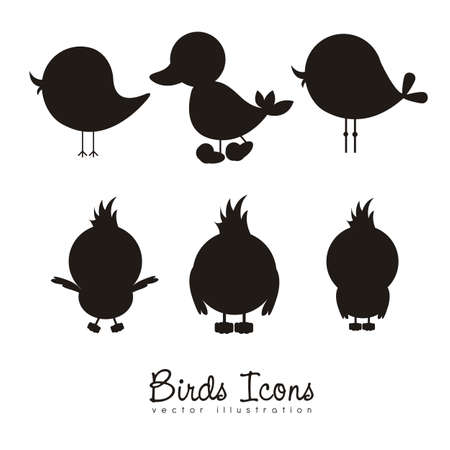 Illustration for Illustration of birds icons, icons with animal silhouettes.  - Royalty Free Image