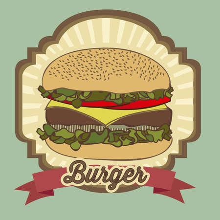 illustration of a vintage burgerfast food