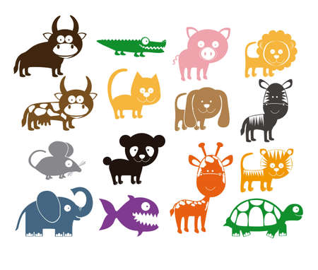 Illustration for Illustration of Cute Animals. wildlife and farm animals  icons. vector illustration - Royalty Free Image