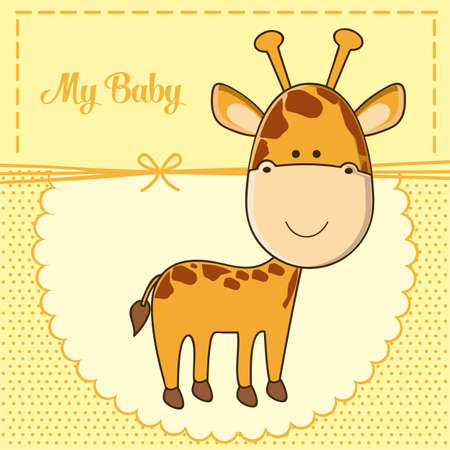Photo pour Illustration of baby shower invitation with a cute giraffe. vector illustration - image libre de droit