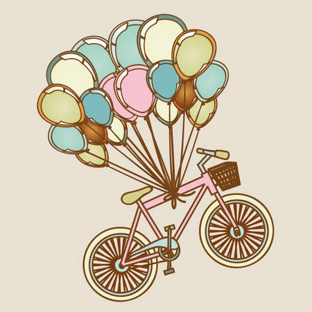 bicycles and balloons over lilac background illustration