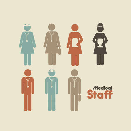 medicall staff over cream background vector illustration