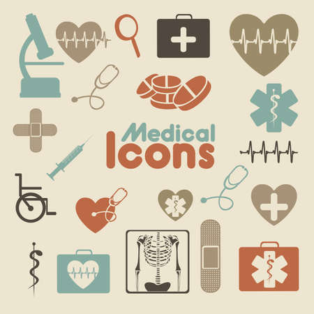 medical icons over cream background vector illustration