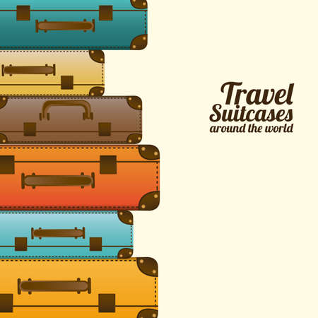 Foto de travel suitcases over white background vector illustration   - Imagen libre de derechos