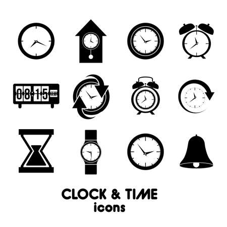 clock and time icons over white background vector illustration