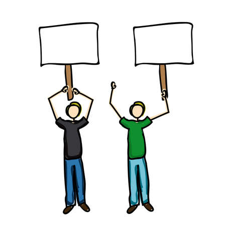 protest icon over white background vector illustration