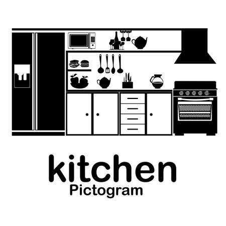 kitchen pictogram over white background vector illustration